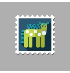 Horse flat stamp with long shadow vector