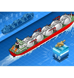 Isometric gas tanker ship in navigation vector