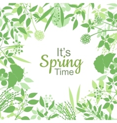 Its spring time green card design text in floral vector