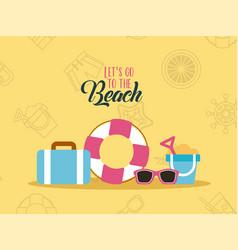 Lets go beach background flat vector