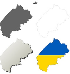 Lviv blank outline map set vector image vector image