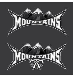 mountains sport team emblem design template vector image