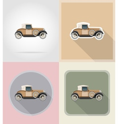 Old retro transport flat icons 01 vector