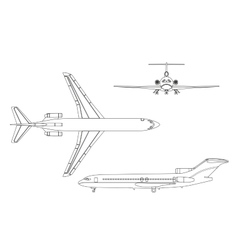Outline drawing plane on a white background vector image vector image