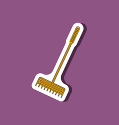 Paper sticker on stylish background rake vector