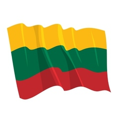 Political waving flag of lithuania vector