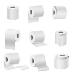 Realistic template blank white toilet paper set vector