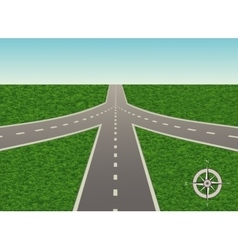 Road junction with a compass vector