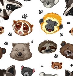 Seamless background with animal heads vector image vector image