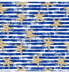 Seamless pattern Blue lines starfish vector image