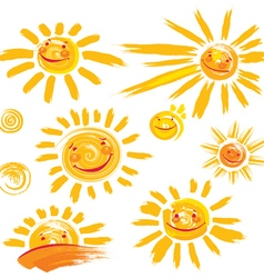 Set of hand drawn sun symbols with smile vector