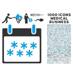 Snow calendar day icon with 1000 medical business vector