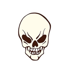 Stylized flat logo smiling pirate skull vector