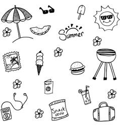 Summer set happy picnic doodle vector