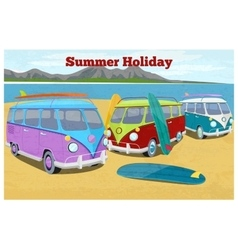 Summer travel design with surfing camper van vector image