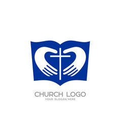 the bible hands forming the heart and the cross vector image vector image