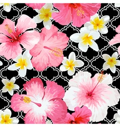 Tropical flowers and leaves geometric background vector