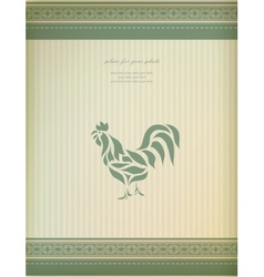 Vintage greeting card with chicken vector image