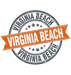 Virginia beach red round grunge vintage ribbon vector