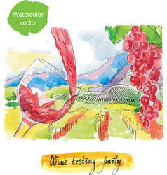 wine testing party watercolor vector image vector image