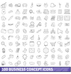 100 business concept icons set outline style vector