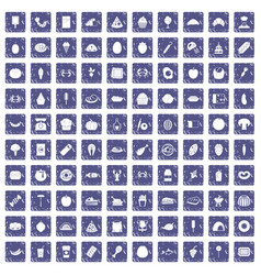 100 favorite food icons set grunge sapphire vector image vector image