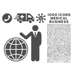 Planetary manager icon with 1000 medical business vector
