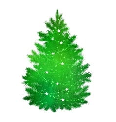 Green silhouette of christmas tree vector
