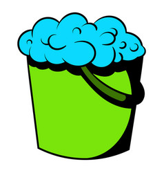 Bucket with foamy water icon icon cartoon vector