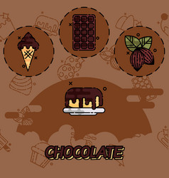 Chocolate flat concept icons vector