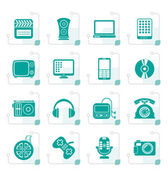 stylized multimedia and technology icons vector image