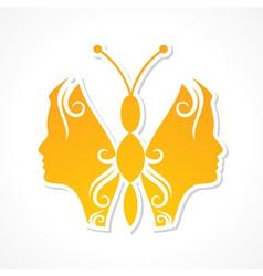 Creative woman face make a butterfly vector