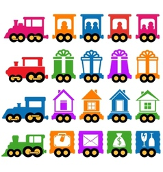 Set train - delivery services icons vector