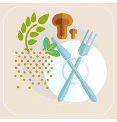 Spices cutlery mushrooms kitchen icon vector image
