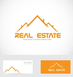 Real estate orange roof logo vector