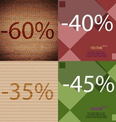 40 35 45 icon set of percent discount on abstract vector