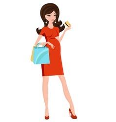 Pregnant beauty shopping vector