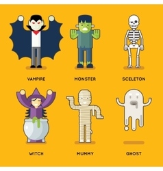 Halloween characters icons set stylish party roles vector