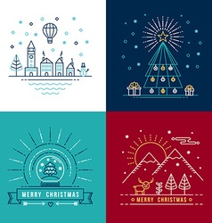 Merry christmas outline label set holiday element vector