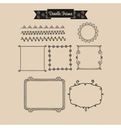 Abstract vintage frame in doodle vector