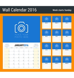 Calendar planner for 2016 year 12 pages design vector