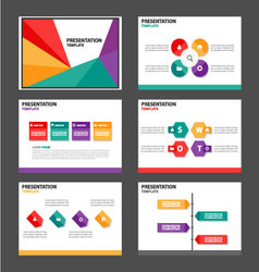 Red green orange purple presentation templates set vector
