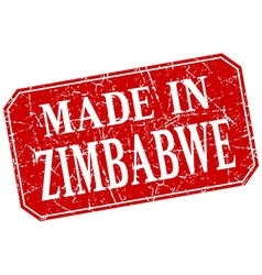 Made in zimbabwe red square grunge stamp vector