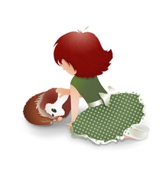 Little Girl Playing with a Cute Dog vector image