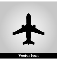 Black plane modern web icon on grey background vector