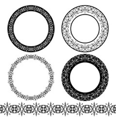 A set of black circular pattern stencil vector image