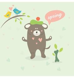 A spring scene with a cartoon dog vector