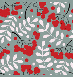 autumn rowanberry leaves and berries seamless vector image