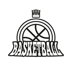 Basketball Badge with Stars and Crown vector image
