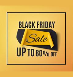 black friday sale banner on orange background vector image vector image